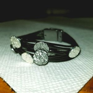 Black and Silver Magnetic Clasp Bracelet